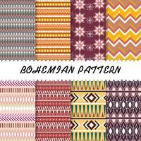 Abstrakt Vacker Bohemian mönster uppsättning bakgrund