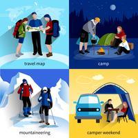 Camper Menschen Icons Set