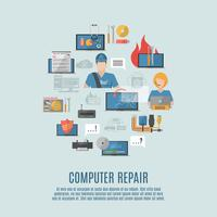 Dator reparation platt ikoner komposition poster