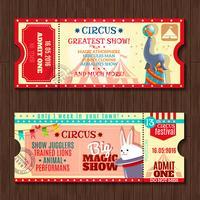 Cirkus visar två vintage biljetter