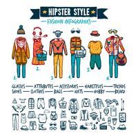 Infographic Gekritzelfahne der Hippie-Modekleidung
