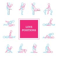 Liebespositionen Icons Set