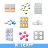 Pills Ikoner Set vektor