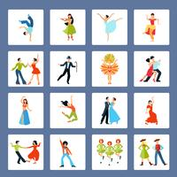 Verschiedene Tanzstile flache Ikonen