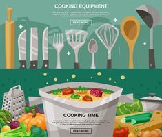 Kochausrüstung und Zeitfahnen eingestellt vektor