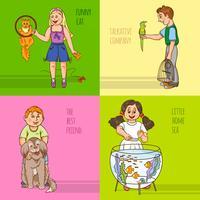 Kinder und Haustiere dekorative Icon Set vektor