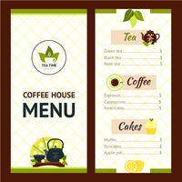 Te Cafe Meny vektor