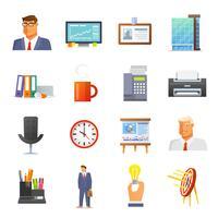 Büro Icons Flat Set vektor