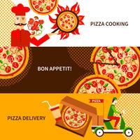 Pizza leverans platt horisontal banderoller set vektor