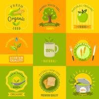 Naturliga mat emblemen platt ikoner uppsättning