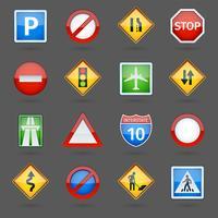 Väg trafik skyltar glänsande ikoner uppsättning
