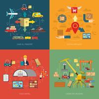 Logistik 4 platta ikoner kvadratiska banner