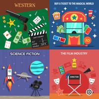 film platta ikoner uppsättning