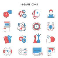 Spielzeile Icons Set vektor