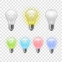 Regnbåge genomskinliga glödlampor sätta bakgrund vektor