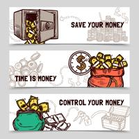 Tidshantering finansiella banners uppsättning doodle