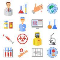 Mikrobiologi ikoner Set