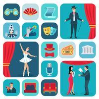 Teater ikoner platt uppsättning