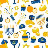 sömlöst mönster med hanukkah symboler vektor