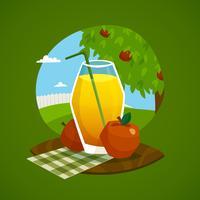 Glas Juice Med Landsbygd Bakgrund vektor