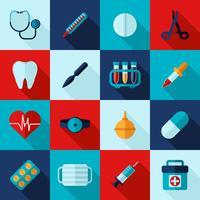 Medicinska ikoner platt uppsättning