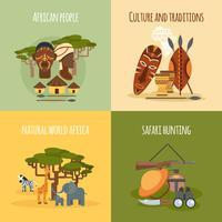Afrikanska 4 platta ikoner kvadratisk komposition vektor