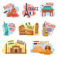 Flache Piktogramme der Tourismusurlaubsreise eingestellt