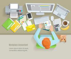 Accounter Arbeitsplatz flach