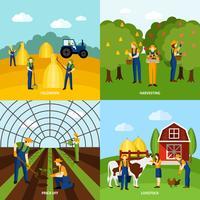 Jordbruk 4 platta ikoner kvadrerar affischen vektor