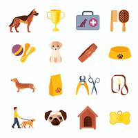 Husdjur hund platta ikoner uppsättning