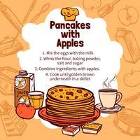 Skizze des Apfelpfannkuchen-Rezepts vektor