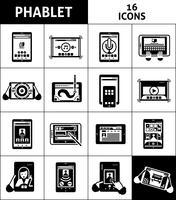 phablet svart vit ikoner uppsättning