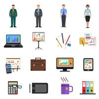 Office ikoner platt uppsättning