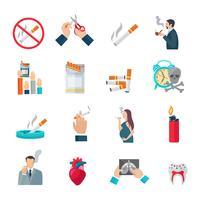 Rökning Flat Icons Set