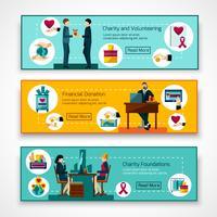 Välgörenhetsstiftelser 3 platta banderoller vektor
