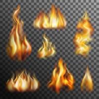 Feuer Transparent Set vektor