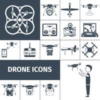 Drohne Icons schwarz