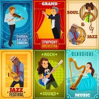 Musiker platt banners komposition poster