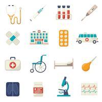 Medizinische Icons Flat Set vektor