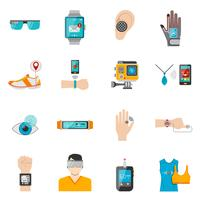 Wearable Technologie Icons Set