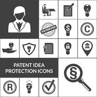 Patentidee Schutz Icons schwarz