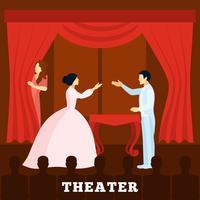 Teaterstegsprestation med publikpost vektor
