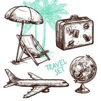 Reise-Skizze-dekorativer Ikonensatz vektor