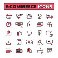 E-Commerce-Linie Icons Set vektor