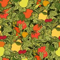 Lässt Gemüse und nahtloses Muster der Früchte vektor