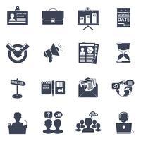 Möte ikoner svart vektor
