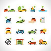 Bilförsäkring ikoner Set