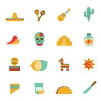 Flache Ikonen der mexikanischen Kultursymbole eingestellt vektor