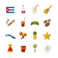 Plattfärg isolerade Kuba ikoner