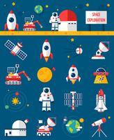 utrymme kosmos utforskning platta ikoner uppsättning